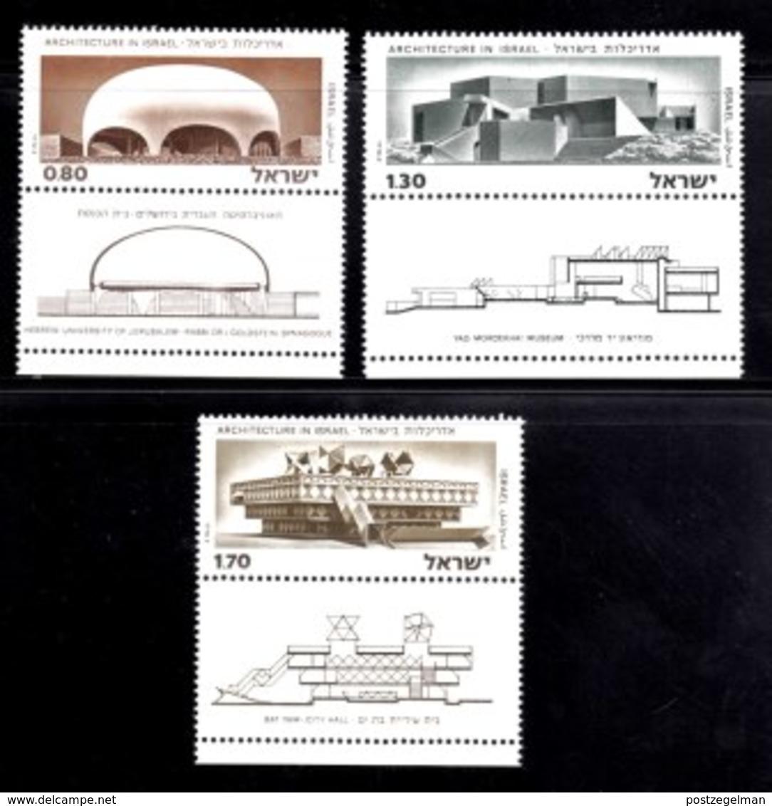 ISRAEL, 1975, Unused Hinged Stamp(s),  With Tab, Rchitecture In Israel, SG Number 596-598, Scan Number 17448 - Israel