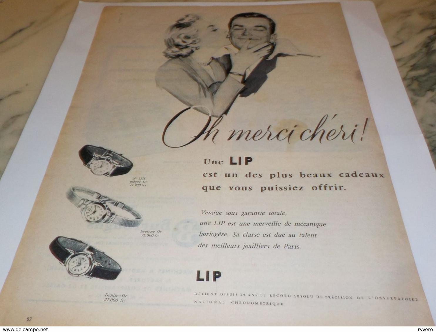 ANCIENNE PUBLICITE OH MERCI CHERI  MONTRE C EST UNE LIP  1955 - Bijoux & Horlogerie