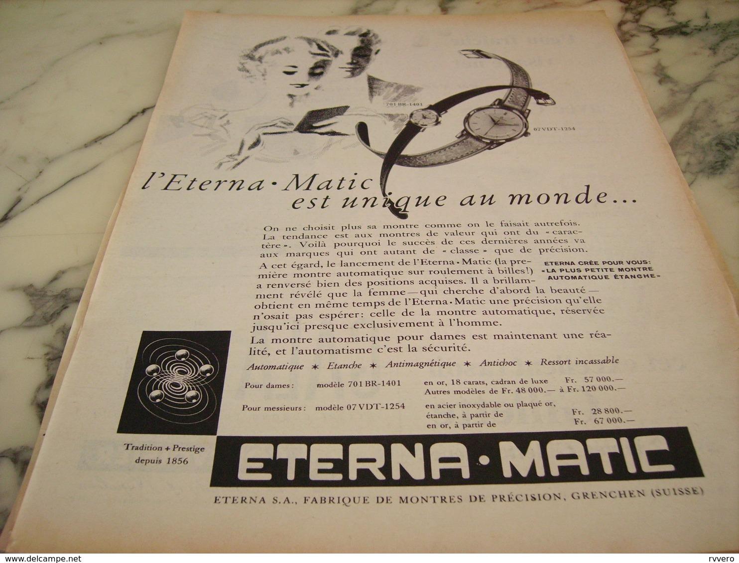 ANCIENNE PUBLICITE UNIQUE AU MONDE MONTRE ETERNA.MATIC 1955 - Bijoux & Horlogerie