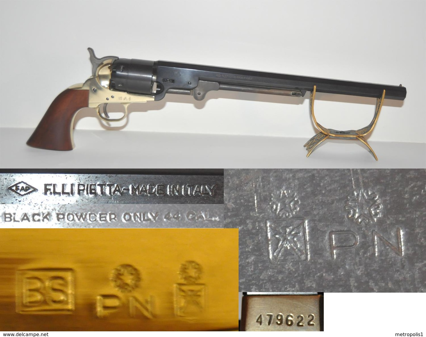 Réplique Colt Pietta Navy Made In Italy Black Powder Only Cal. 44 Canon Long - Army & War