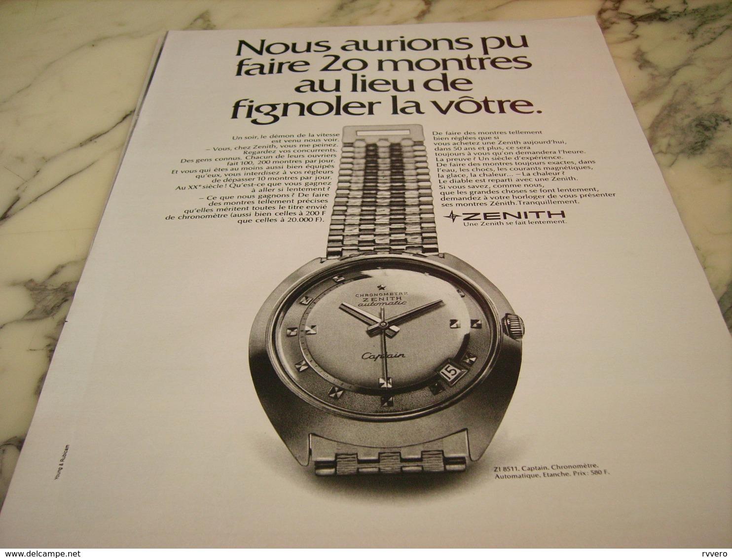 ANCIENNE PUBLICITE MONTRE ZENITH 1968 - Autres