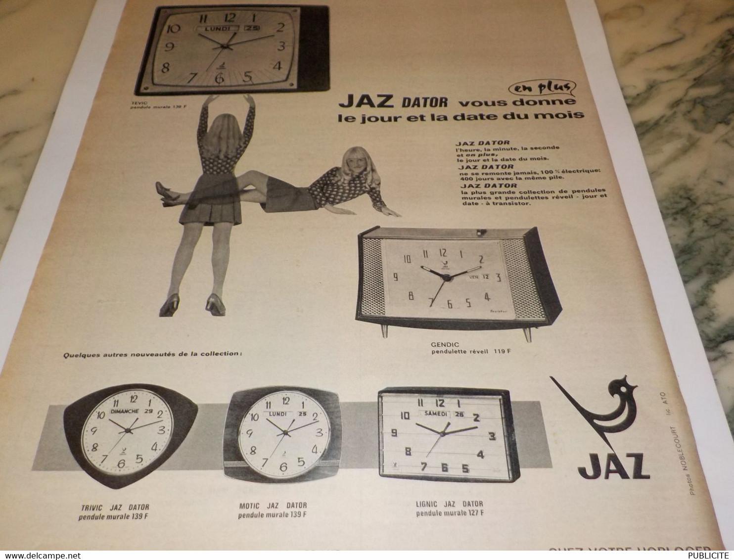 ANCIENNE PUBLICITE DATOR UNE  JAZ 1968 - Autres