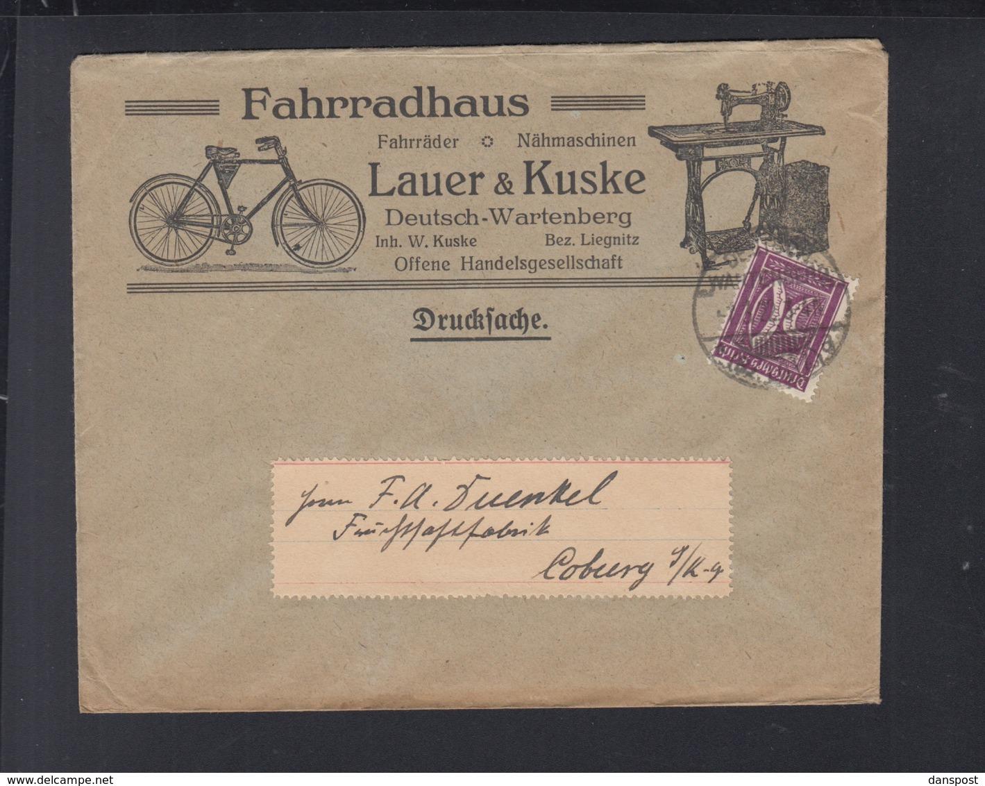 Dt. Reich Polen Poland Brief Fahrradhaus Lauer & Kuske Deutsch-Wartenberg Otyń - Briefe U. Dokumente