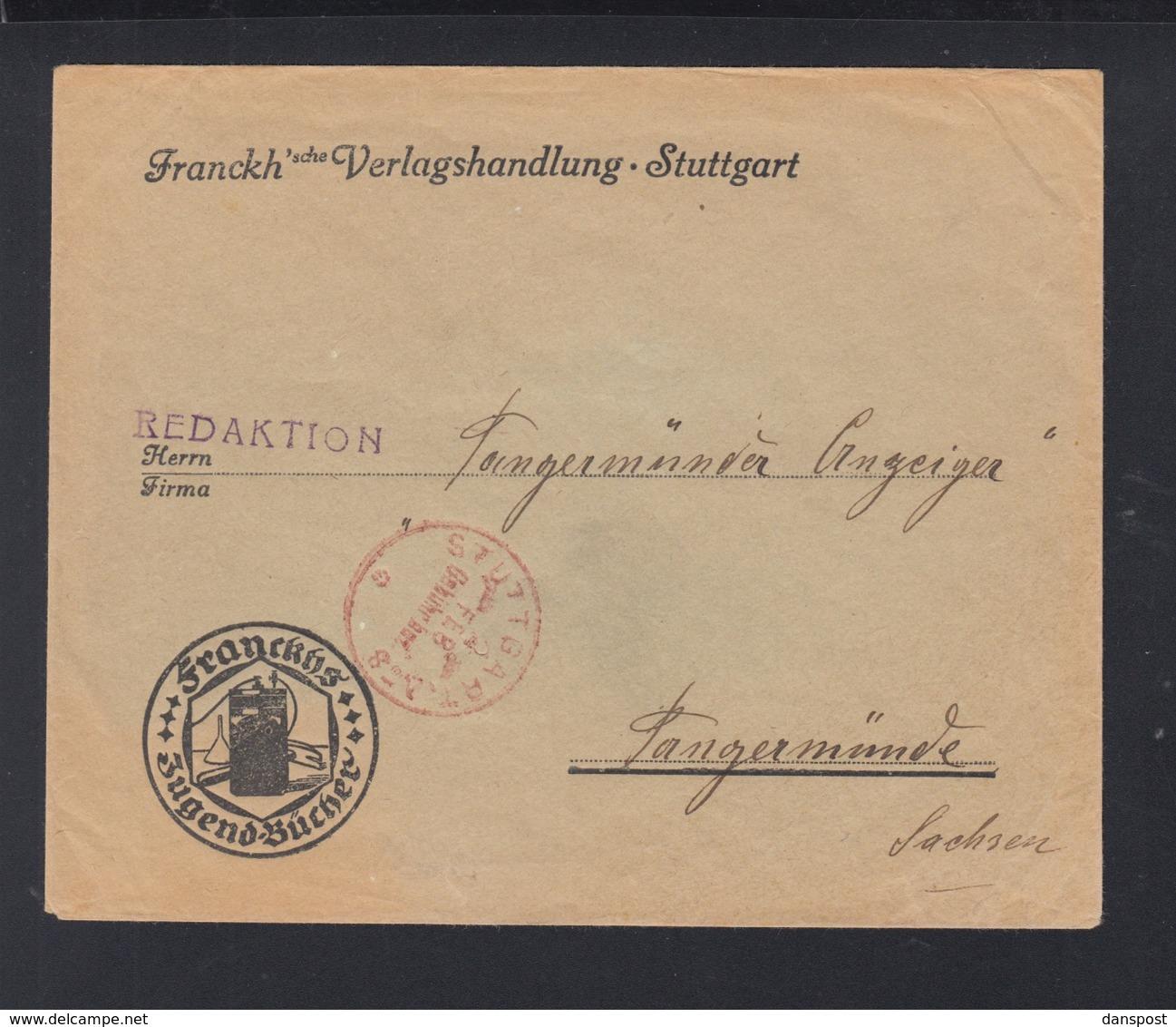 Dt. Reich Brief Franckhsche Verlagsbuchhandlung Stuttgart Gebühr Bezahlt 1923 - Briefe U. Dokumente