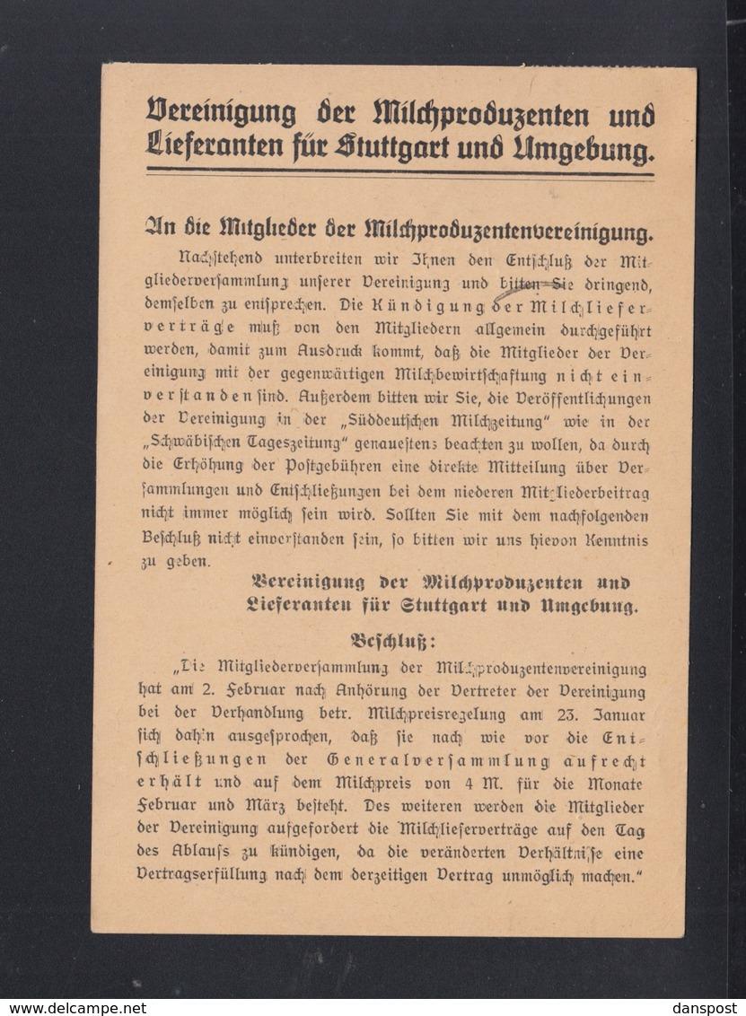 Dt. Reich PK 1922 Vereinigung Der Milch Produzenten Stuttgart Lochung Perfin - Deutschland