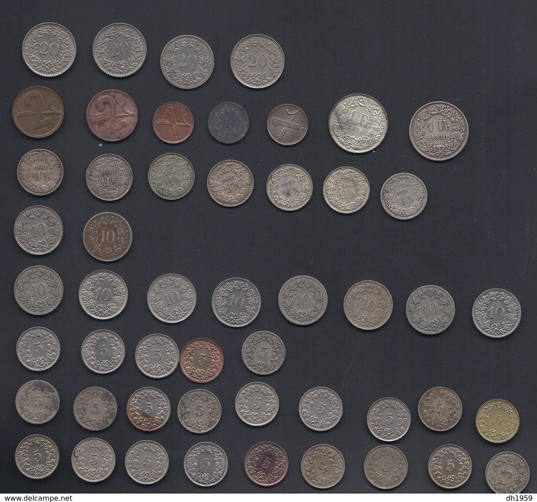 LOT FRANCS SUISSE Env. 51 Pieces SCHWEIZ CONFOEDERATIO HELVETICA ARGENT SILVER SILBER 0,20 1f 0,02 0,01 0,50 0,10 0,05 - Suisse