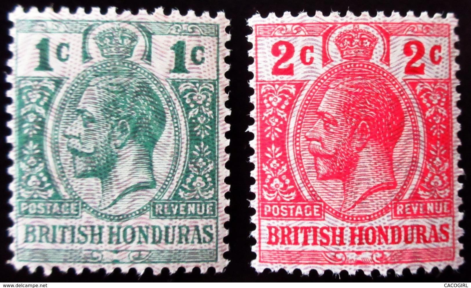 1913 British Honduras Mi 76a, 77 .With Moire Overprint . Neufs Traces Charnières - Honduras Britannique (...-1970)