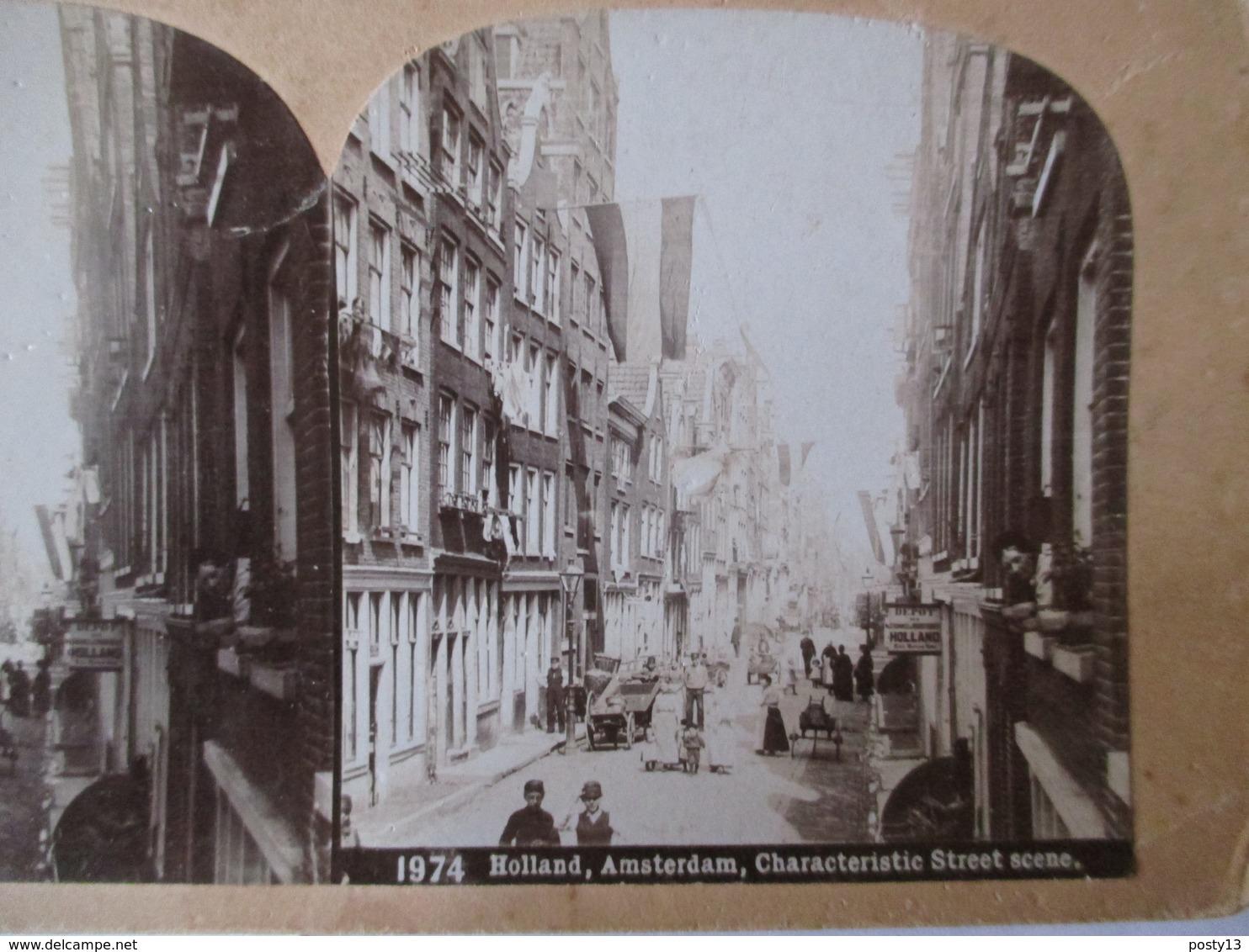 PAYS BAS - AMSTERDAM - Vue D'une Rue - Photographie Stéréoscopique - TBE - Photos Stéréoscopiques