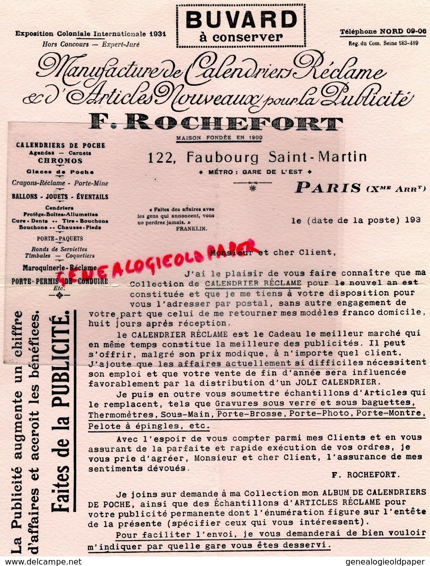 75- PARIS- PAPETERIE RARE BUVARD F. ROCHEFORT -122 FAUBOURG SAINT MARTIN-MANUFACTURE CALENDRIERS PUBLICITE - Papeterie