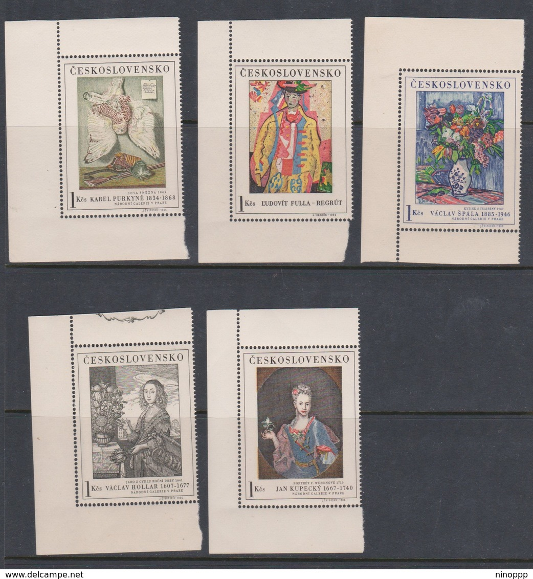 Czechoslovakia Scott 1435-1439 1966 Paintings, Mint Never Hinged - Czechoslovakia