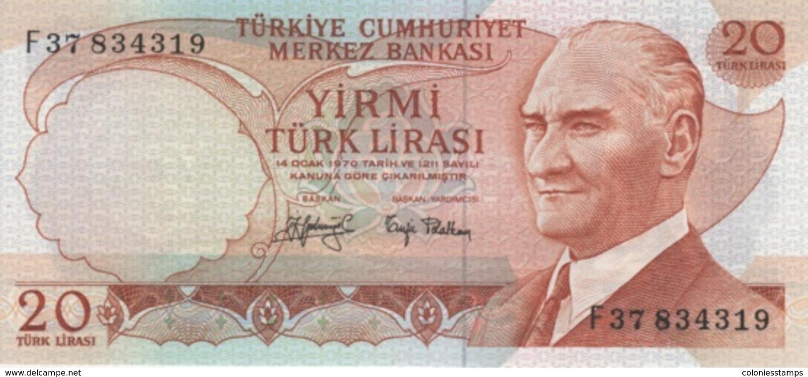 (B0076) TURKEY, L.1970 (1974 ND). 20 Lira. P-187a. UNC - Turquie