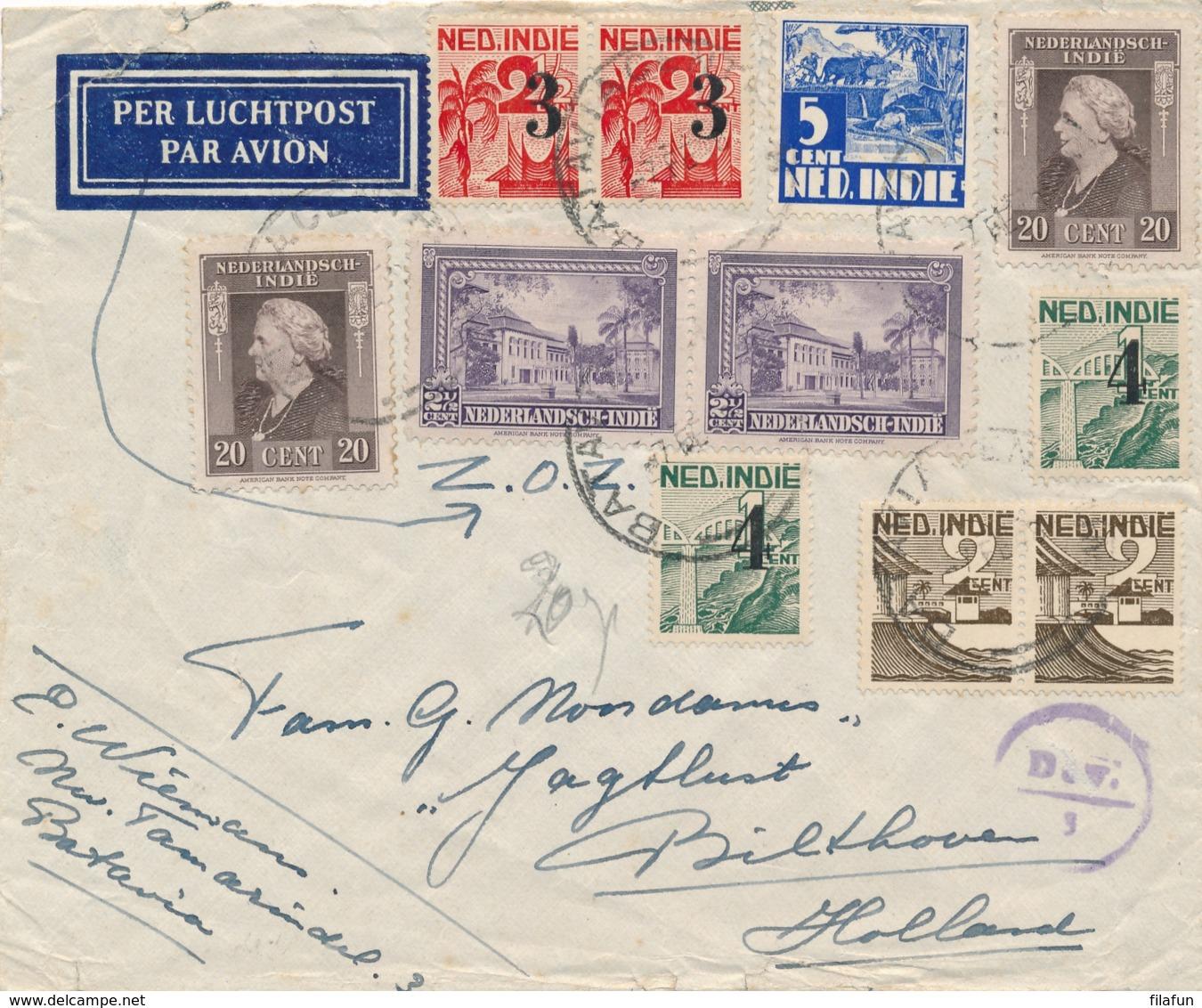 Nederlands Indië - 1948 - 11 Zegels Op LP-cover Met Deviezen Censuur Van Batavia Naar Bilthoven / Nederland - Nederlands-Indië