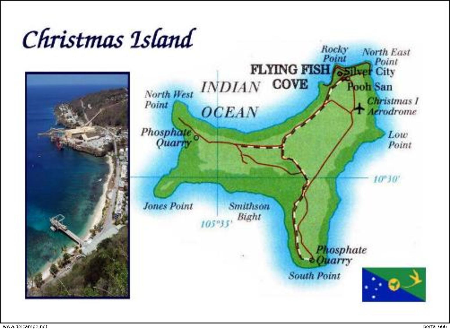 Christmas Island Map New Postcard Weihnachtsinsel Landkarte AK - Christmas Island