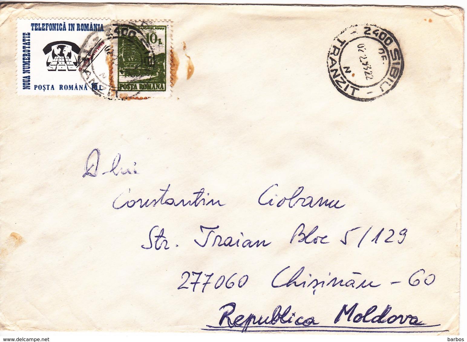 Romania , Roumanie To Moldova , 1993 , Telephone ,  Used Cover - 1948-.... Républiques