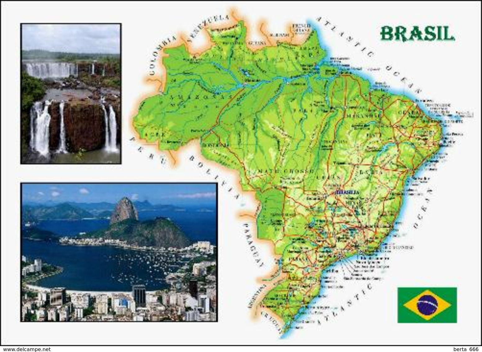 Brazil Country Map New Postcard Brasilien Landkarte AK - Brazil