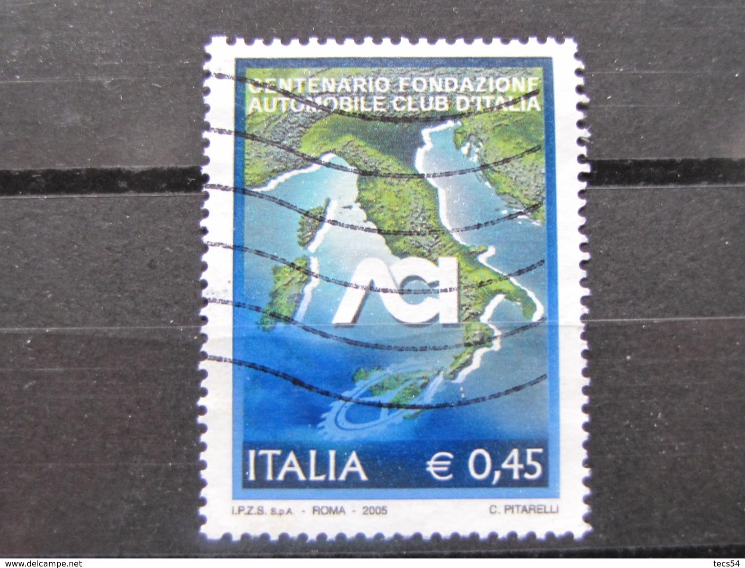 *ITALIA* USATI 2005 - CENTENARIO ACI - SASSONE 2799 - LUSSO/FIOR DI STAMPA - 6. 1946-.. Repubblica