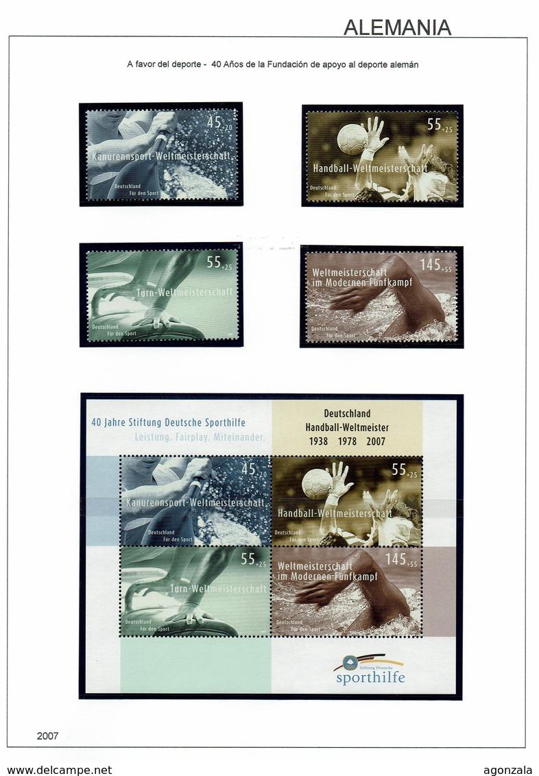 COLLECTION TIMBRES NOUVELLES MNH DE ALEMANIA ANNÉES 1975 À 2018 COMPLETES MONTÉE DANS 5 ALBUMS AVEC BANDES HAWID - Stamps