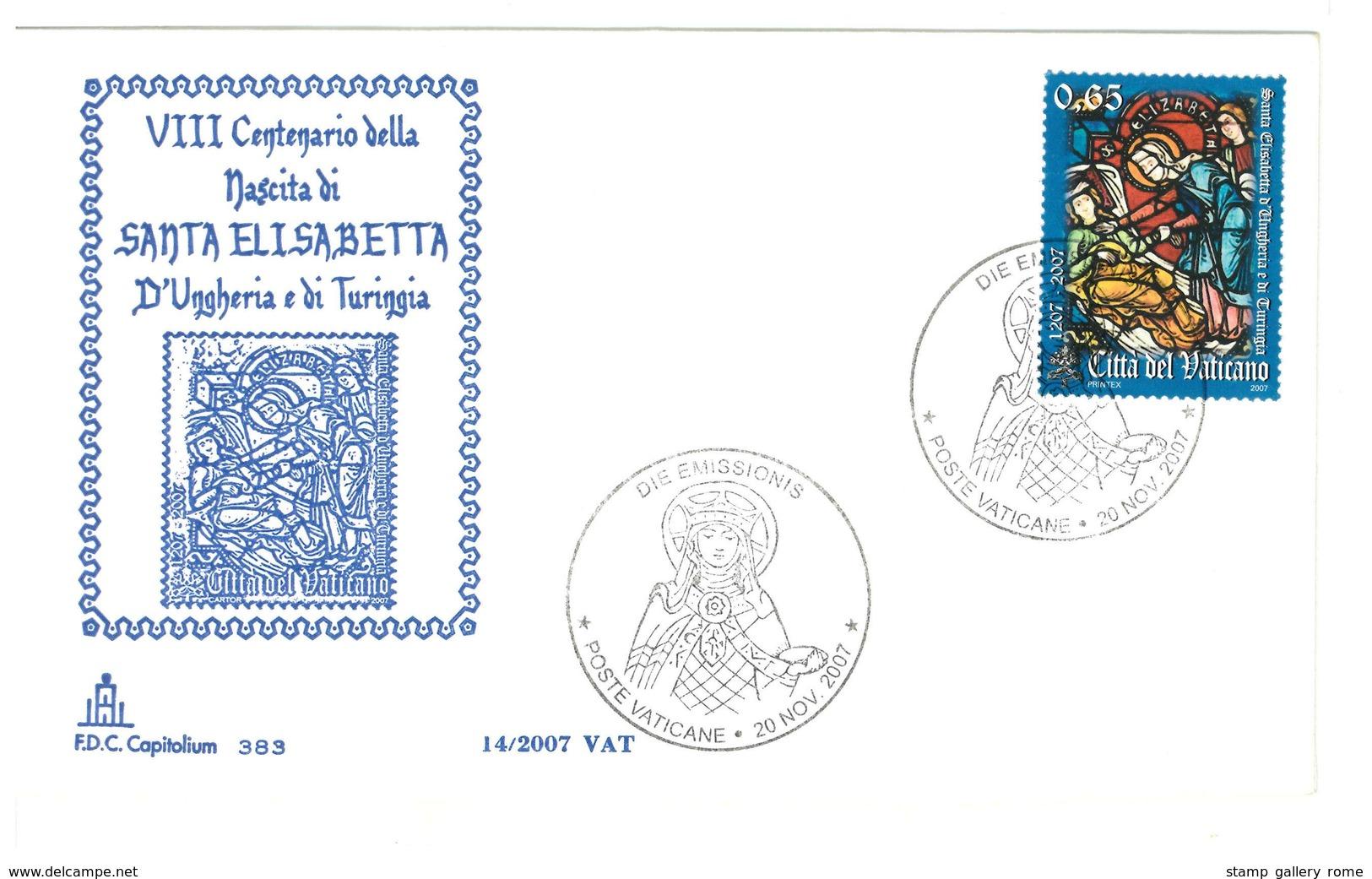 VATICANO  FDC CAPITOLIUM - ANNO 2007 -  SANTA ELISABETTA - FDC