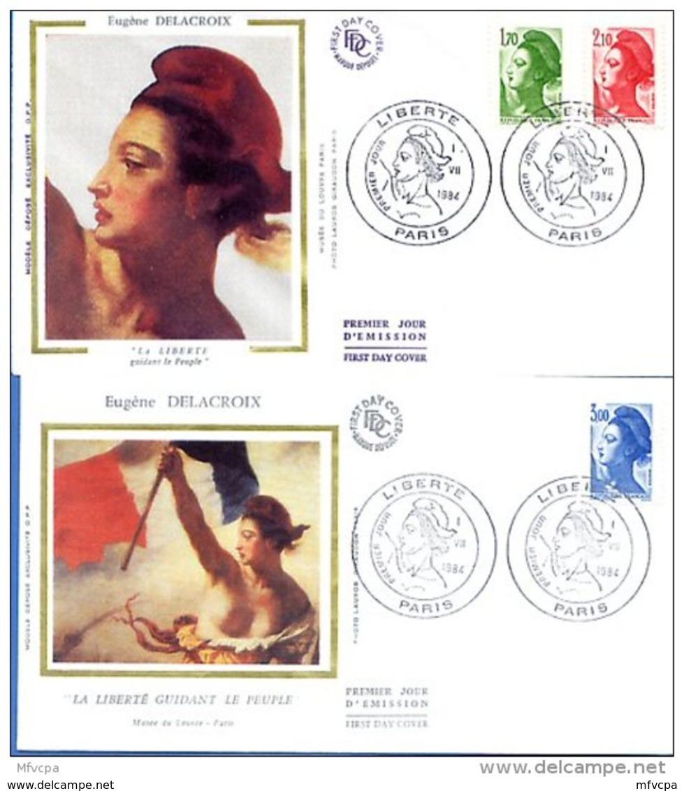 L4T597 FRANCE 1984 FDC Liberté 1,70 2,10 3,00f Paris 01 07 1984/2 Env. Illus. - 1982-90 Liberté De Gandon