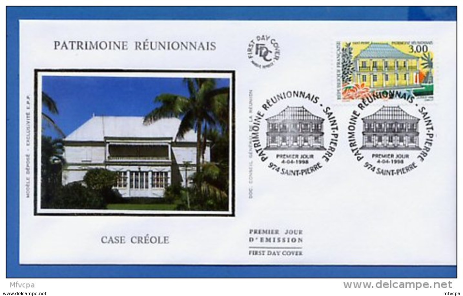 L4T623 FRANCE 1998 FDC Patrimoine Réunionnais 3,00f Saint Pierre 04 04 1998 /env. Illus. - FDC