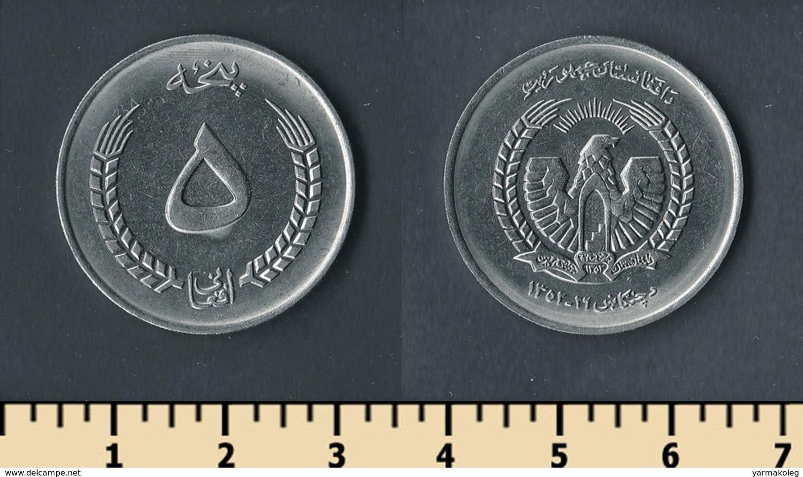 Afghanistan 5 Afghanis 1973 - Afghanistan