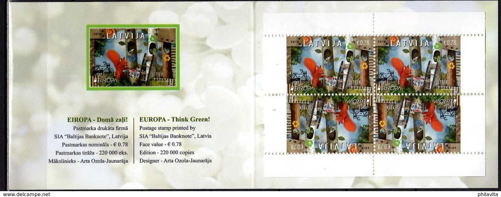 2016 Latvia Europa CEPT Thinking Green- Booklet Of 4 V Paper - MNH** MI 981 D Mh Essen - Lettland
