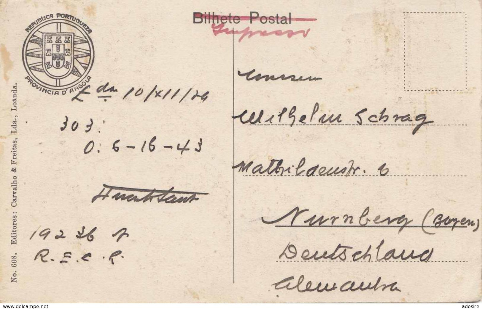 RAR!!! ANGOLA - LOANDA - Rua Salvador Correia No.2, Karte Gelaufen 1929, 5 Fach Frankierung Auf Vorderseite ... - Angola