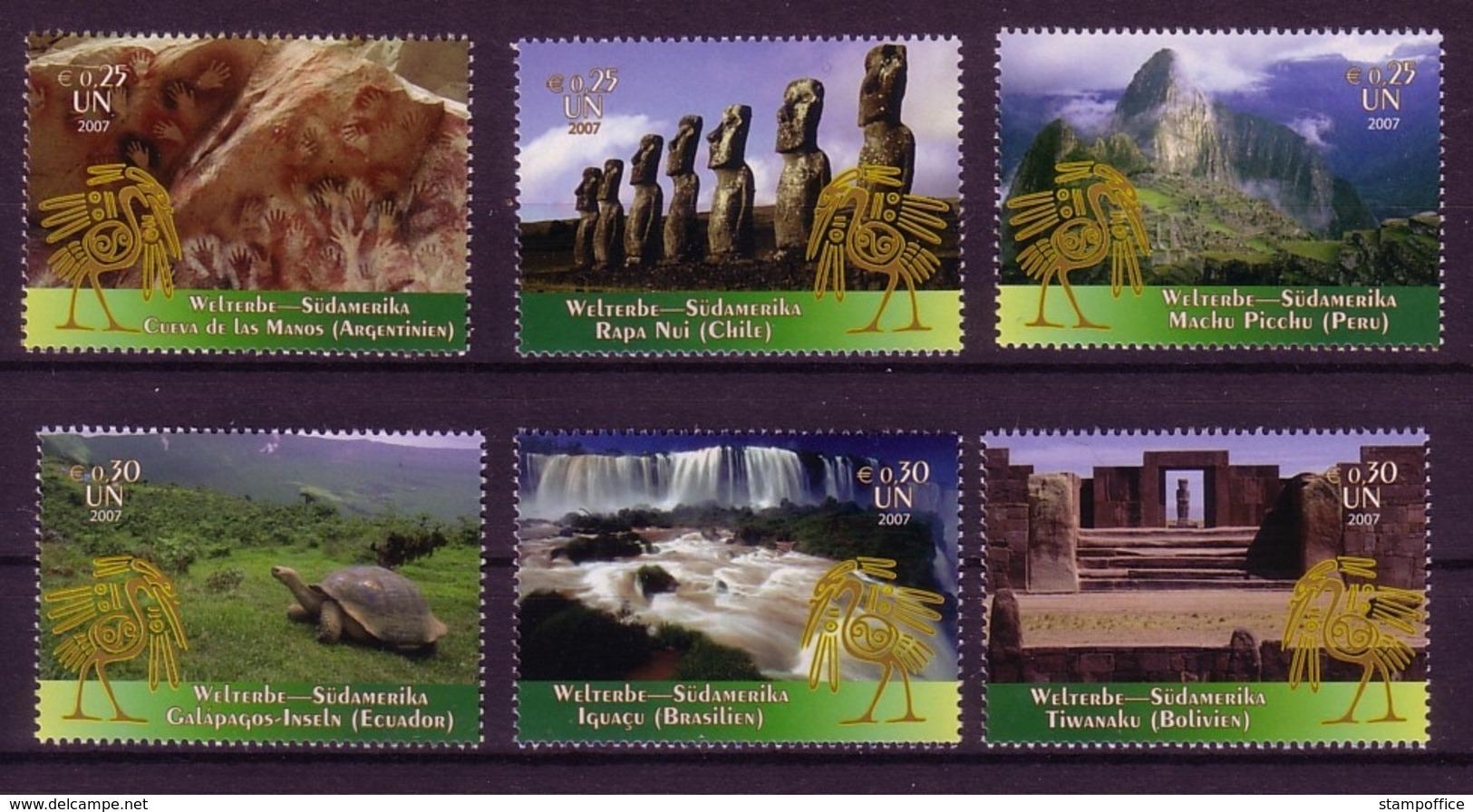 UNO WIEN MI-NR. 506-511 ** KULTUR- Und NATURERBE Der MENSCHHEIT SÜDAMERIKA 2007 - Wien - Internationales Zentrum