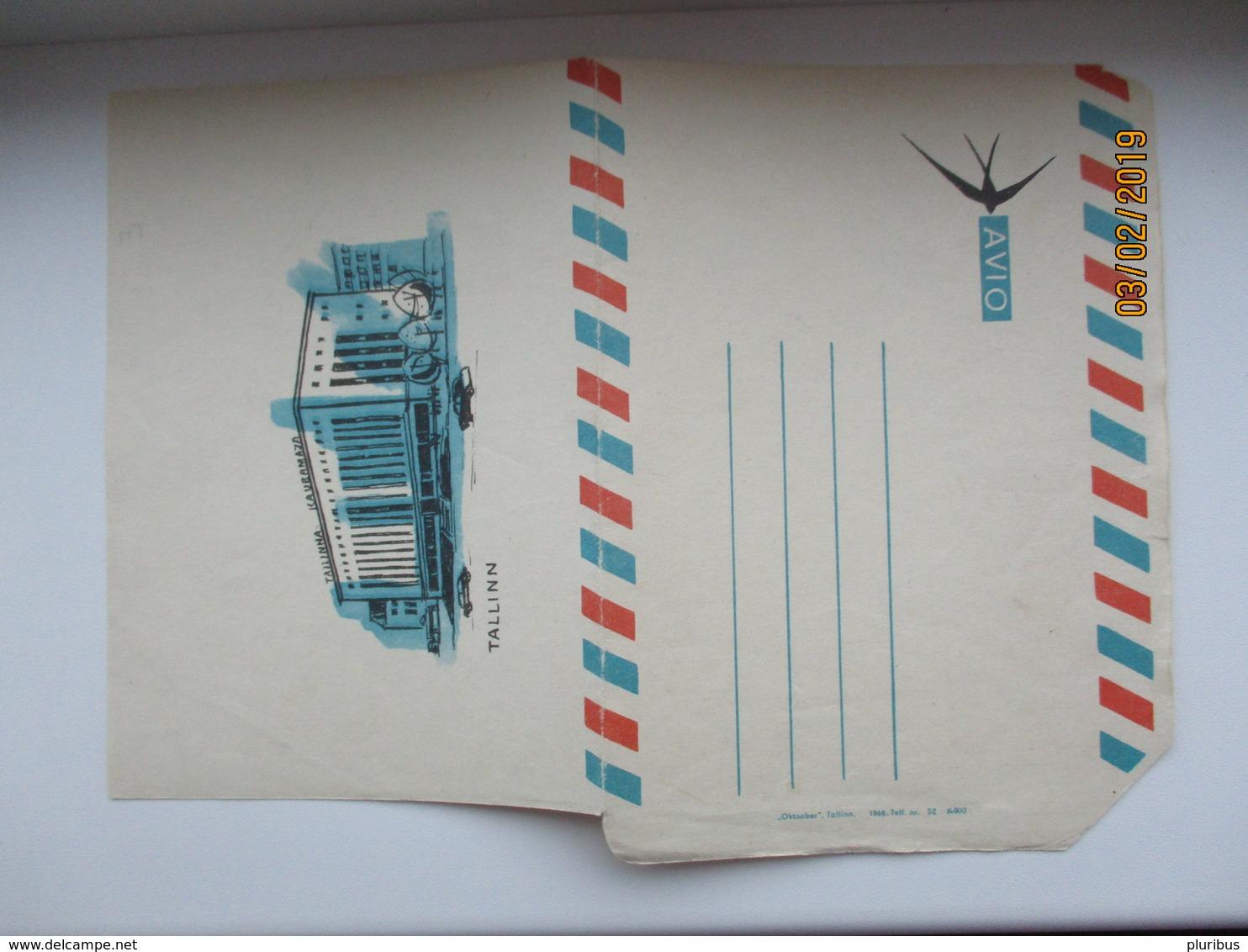 RARE! USSR ESTONIA 1966 AIR MAIL AVIO FOLDED COVER  TALLINN KAUBAMAJA , SWALLOW ,0 - 1923-1991 USSR