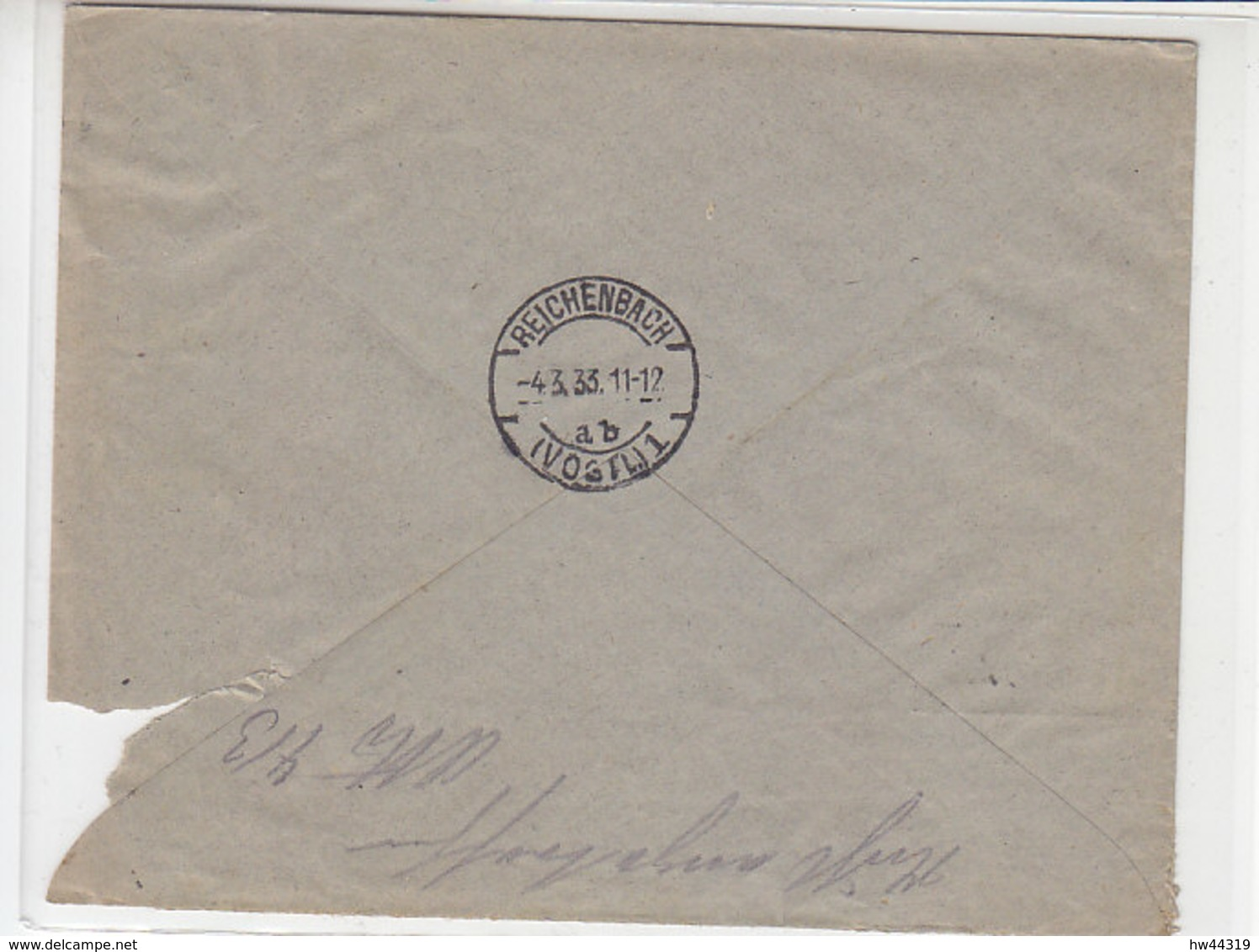 Fa. R-Brief Aus BRAND (Kr.Aachen)  3.3.33 Nach Reichenbach / Heftungsmängel - Briefe U. Dokumente