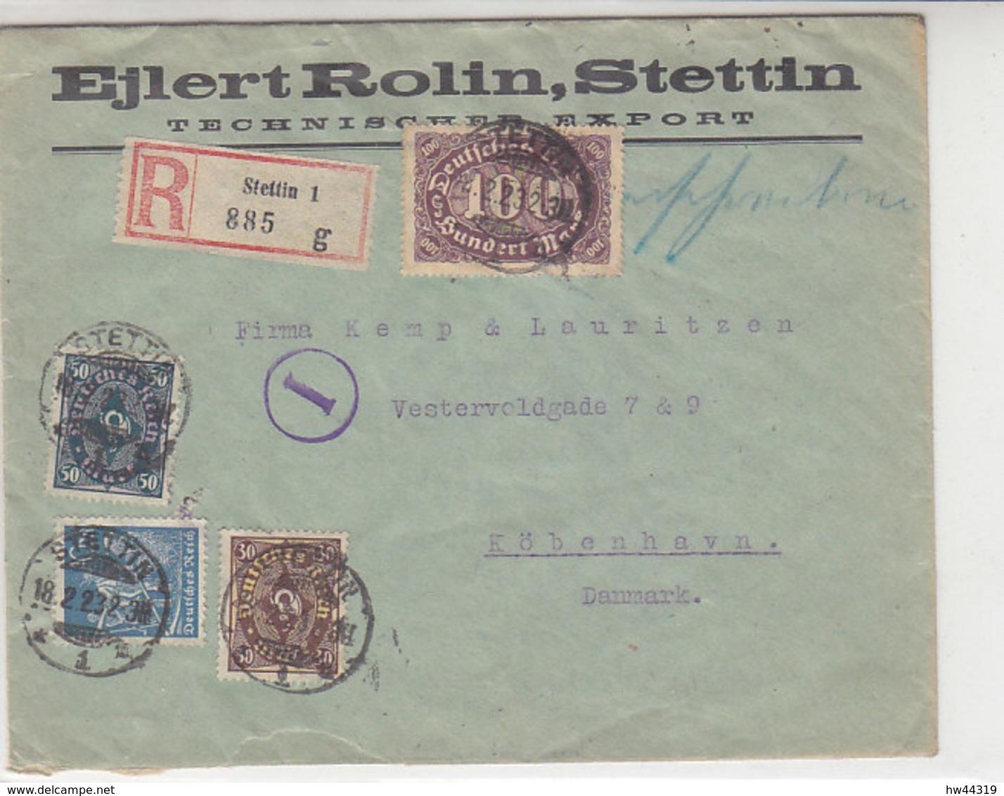 Fa. R-Brief Mit Div. Marken Aus STETTIN 18.2.23 Nach Kopenhagen / Zensur Durch Postüberwachungsstelle - Briefe U. Dokumente