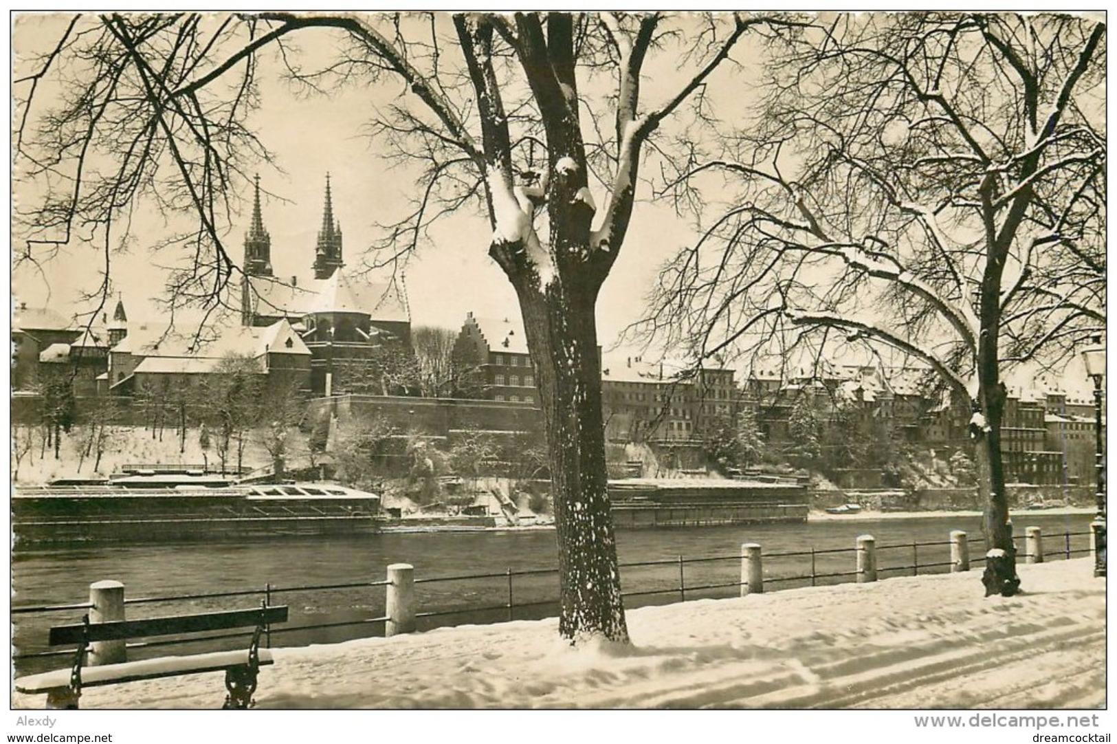 Photo Cpsm Cpm SUISSE. Basel Am Rheinweg. Pour Enghien-les-Bains 1946 - Suisse