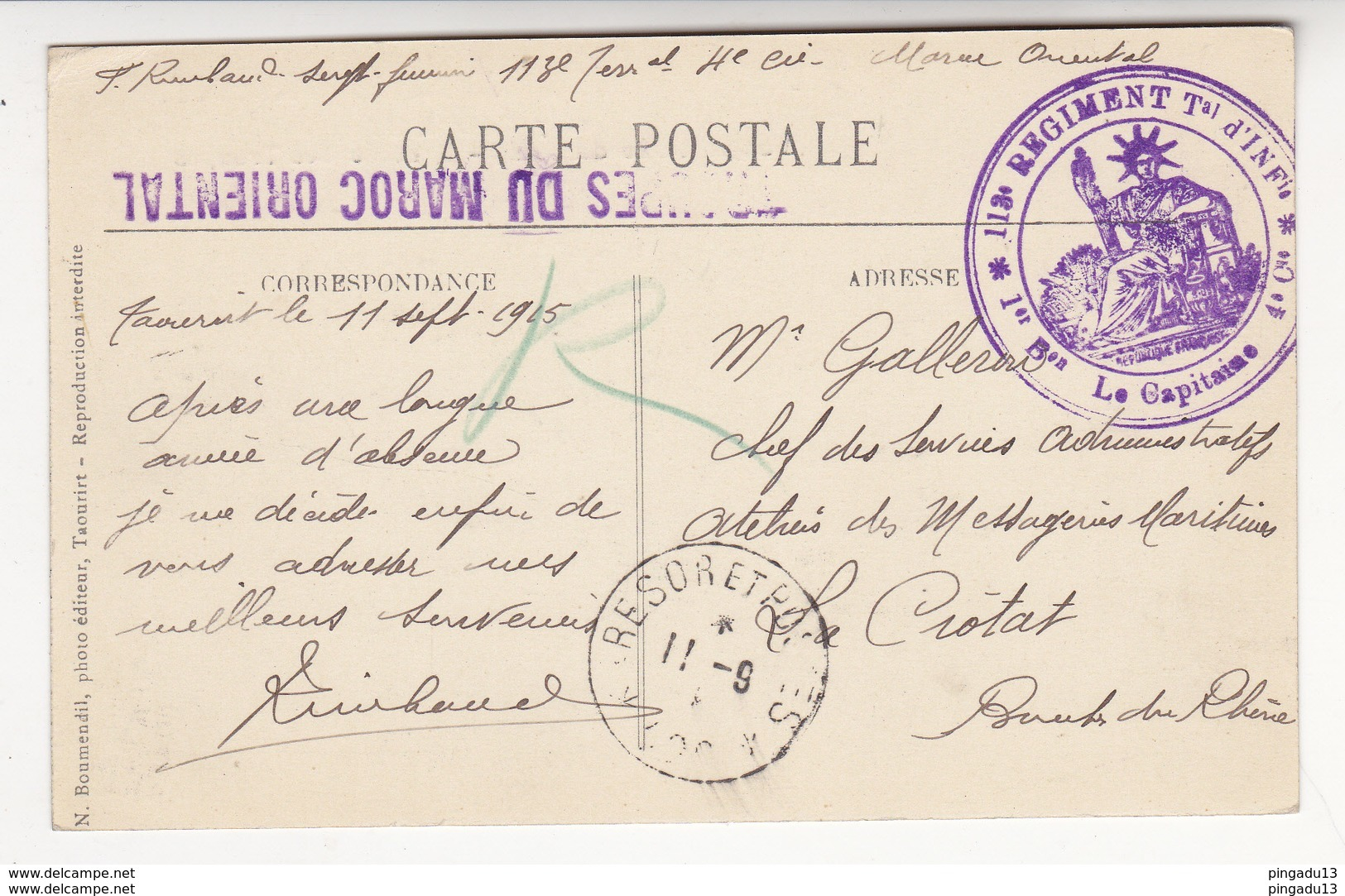Au Plus Rapide Guerre 1914 18 Maroc Orient Taourirt Cachet Militaire 113 E Régiment Infanterie Le Capitaine 11 Sept 1915 - Guerre 1914-18