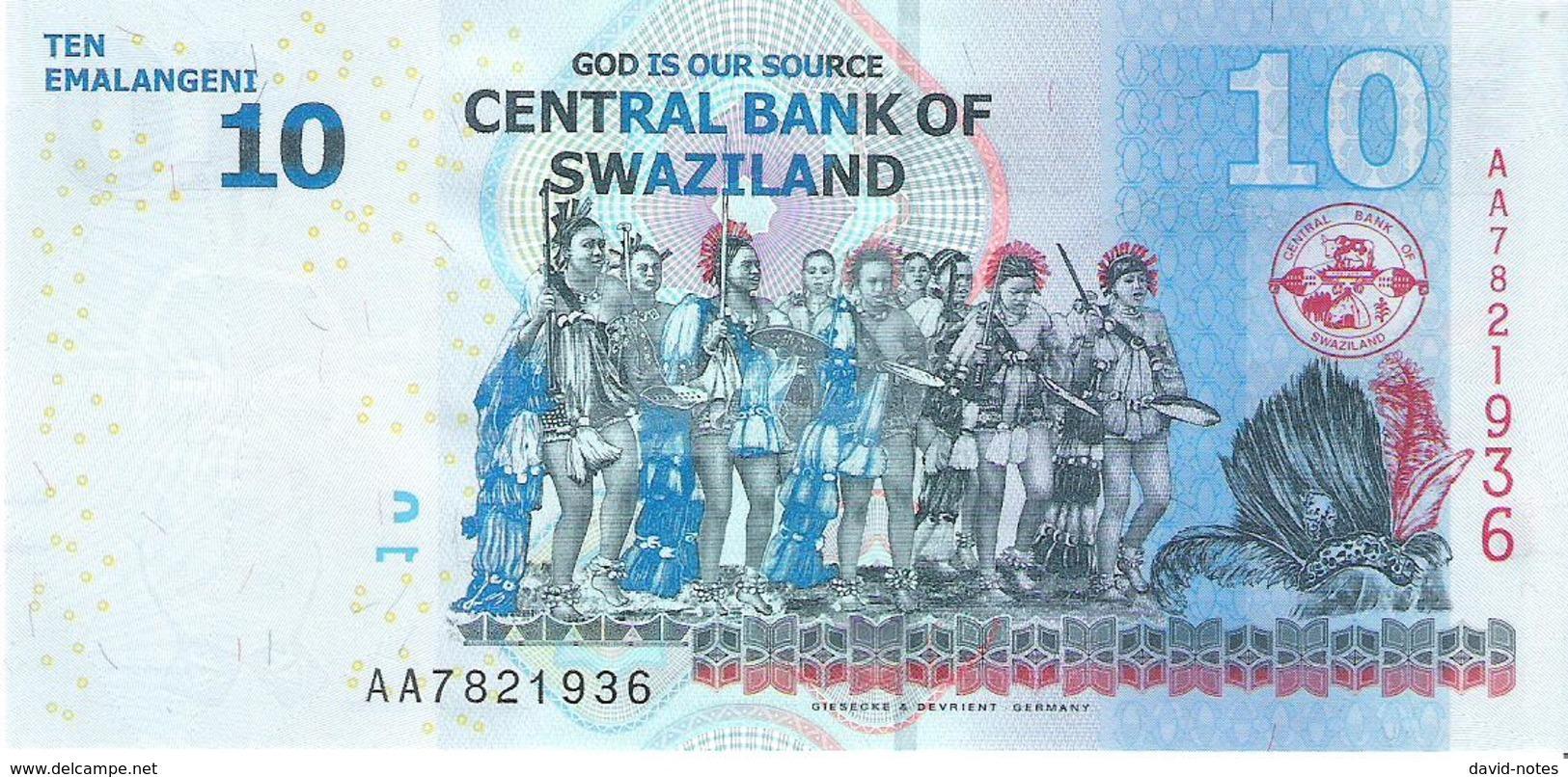 Swaziland - Pick 36 - 10 Emalangeni 2010 - Unc - Swaziland
