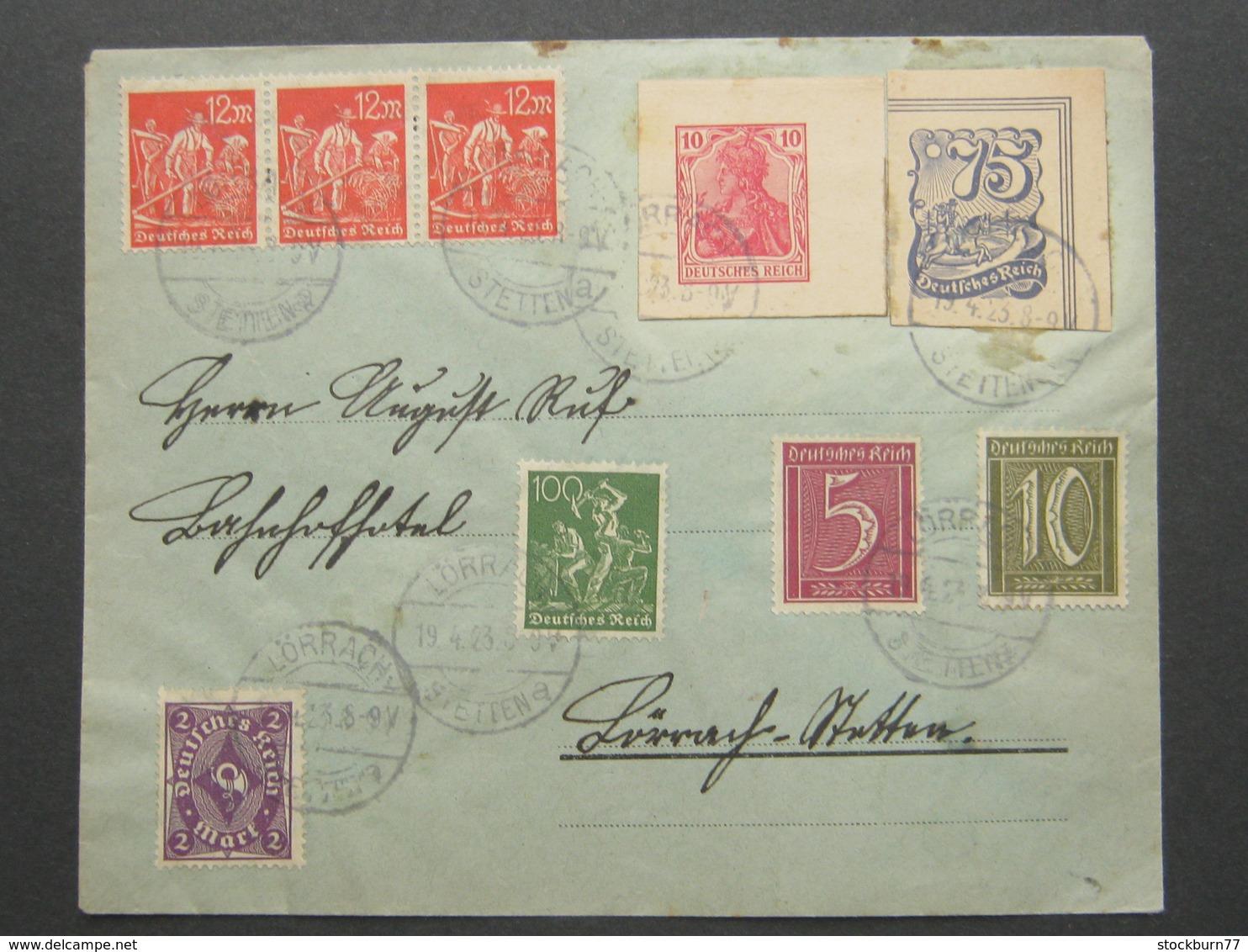 1923 , Ganzsachenausschnitt Auf Brief Aus  Lörrach , Sehr Selten - Briefe U. Dokumente