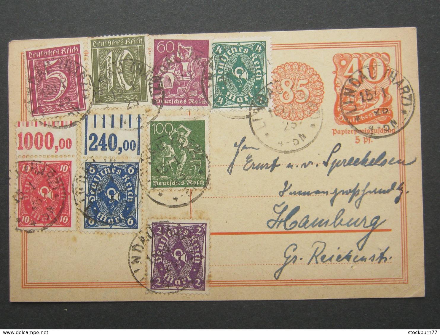 1923 , LINDAU (HARZ) , Klarer Stempel Auf Ganzsache Mit Oberrandstücken - Briefe U. Dokumente