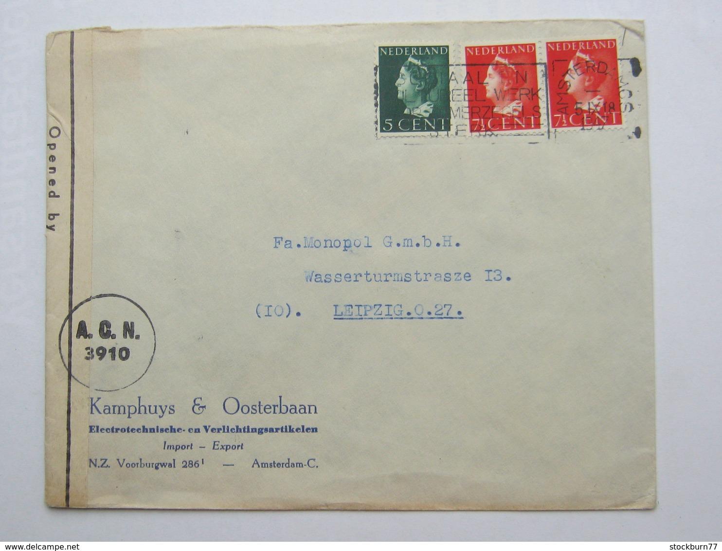 1947 , Brief Zensur  A Duitsland - Periode 1891-1948 (Wilhelmina)