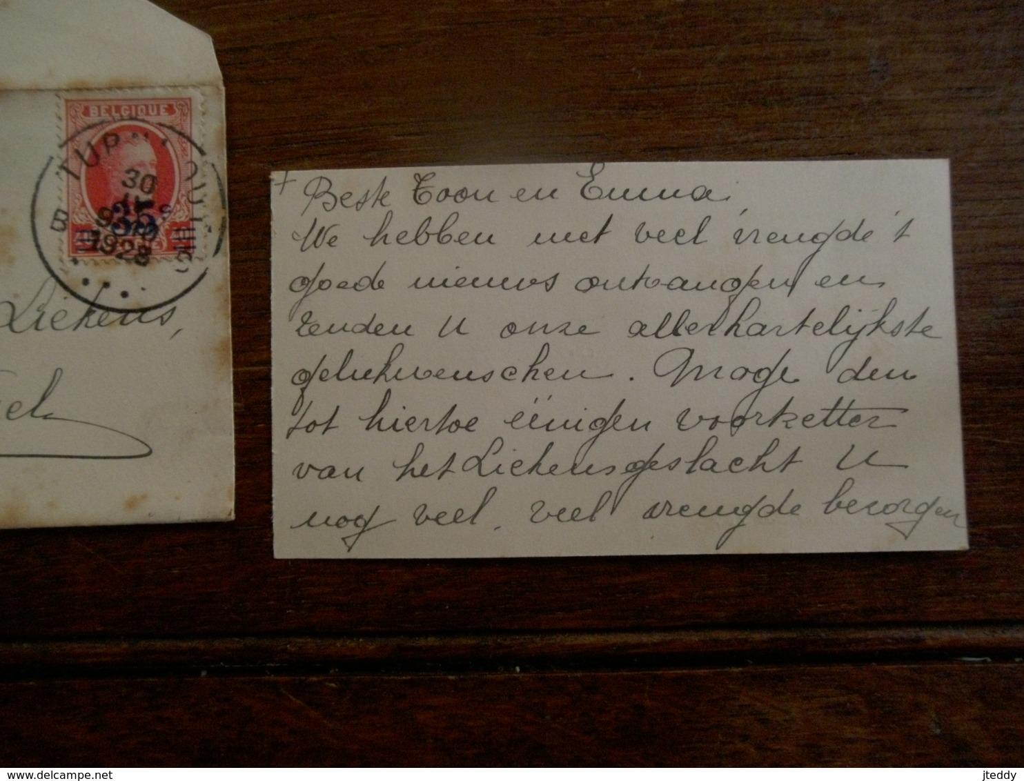 Oud Visitekaartje 1928 Met Omslag     En Omslag   Naar    BAELEN -  WEZEL   Vanuit TURNHOUT  Met Zegel - Cartes De Visite