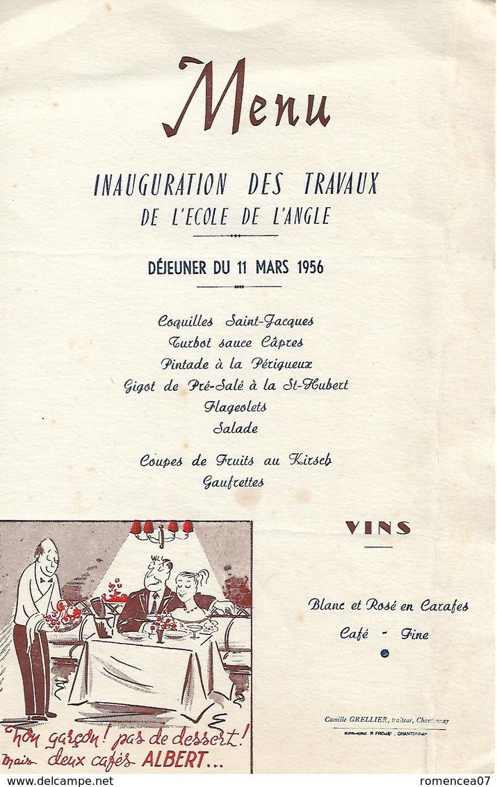 CHANTONNAY (Vendée) - MENU - INAUGURATION Des TRAVAUX De L'ECOLE De L'ANGLE - Déjeuner Du 11 Mars 1956 - Grellier - Menus