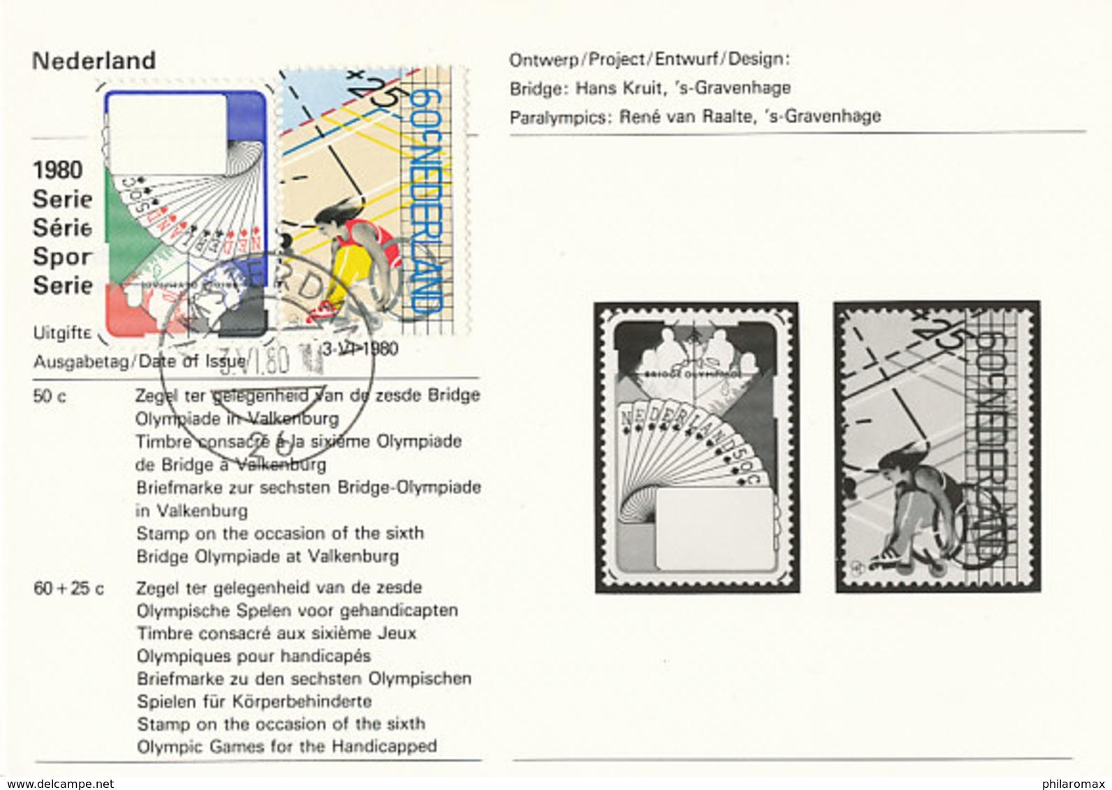 D36100 CARTE CARD FD 1980 NETHERLANDS - EMISSION INFORMATION - BRIDGE PLAYING CARDS / WHEELCHAIR ATHLETE CP ORIGINAL - Spiele