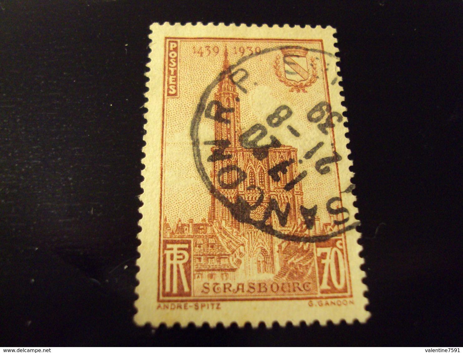 """1939      Timbre Oblitéré N° 443    """"  Cathedrale Strasbourg       """"   Net 1.20 - Oblitérés"""