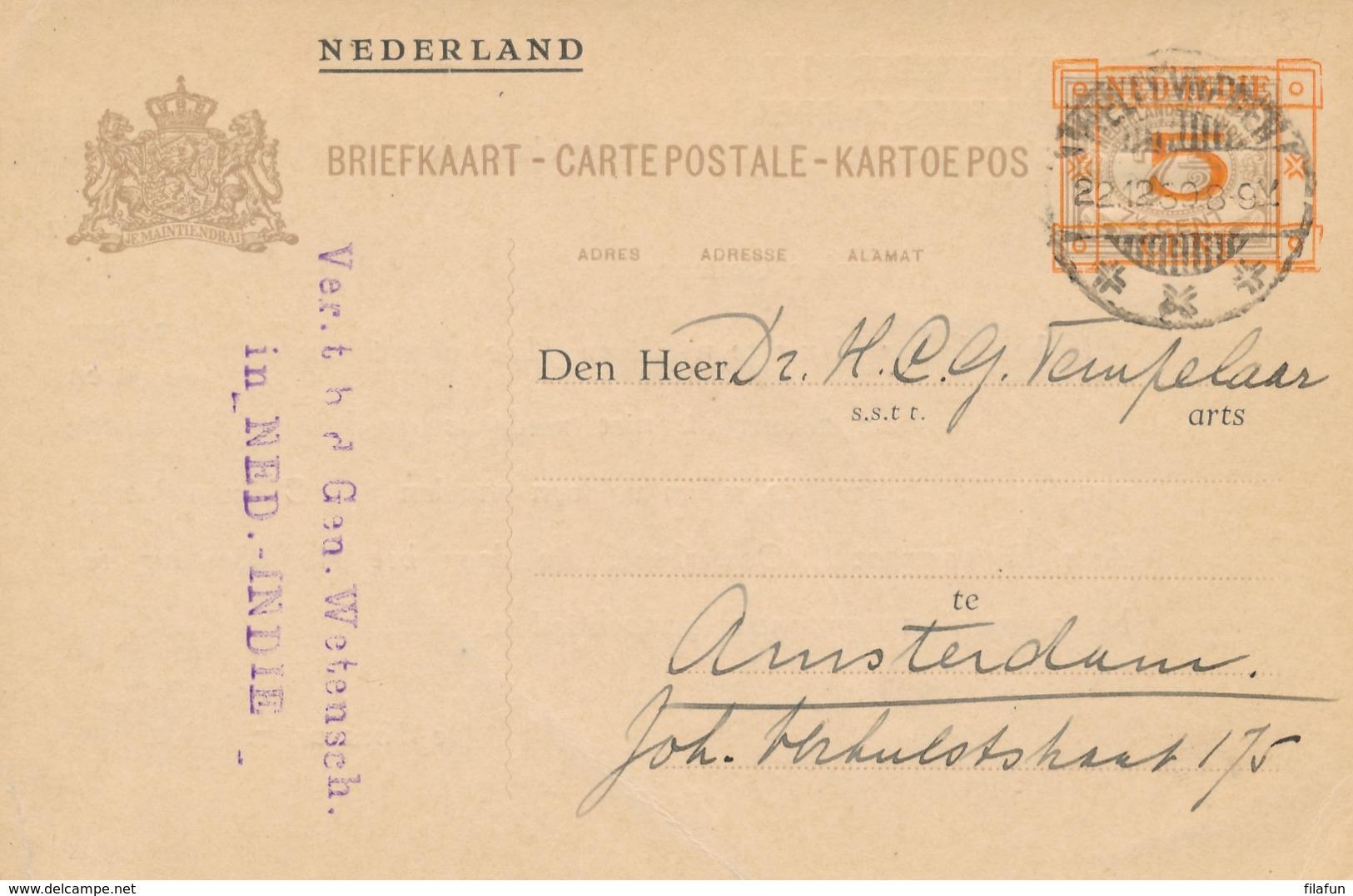 Nederlands Indië - 1930 - 5 Op 7,5 Cent Cijfer, Briefkaart G44 - Particulier Bedrukt Van Weltevreden Naar Amsterdam - Nederlands-Indië