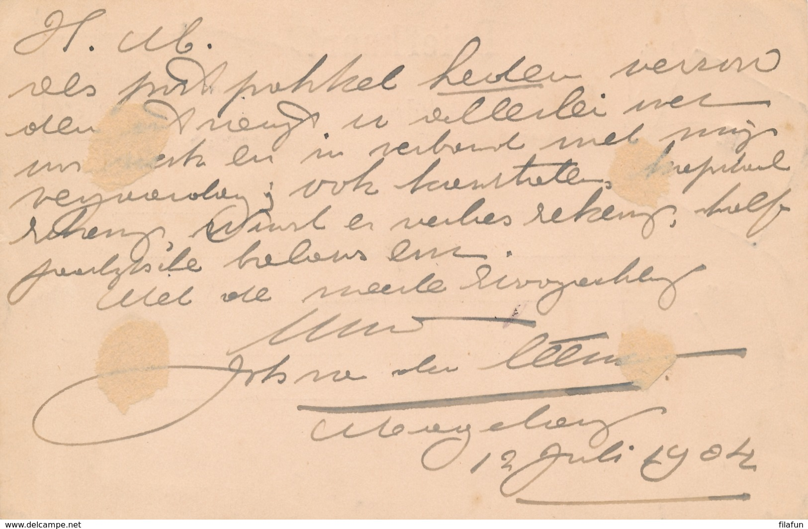 Nederlands Indië - 1904 - 5 Cent Cijfer, Briefkaart G14 + 2,5 Cent Opdrukzegel Van VK MAGELANG Via Maos Naar Den Haag - Nederlands-Indië