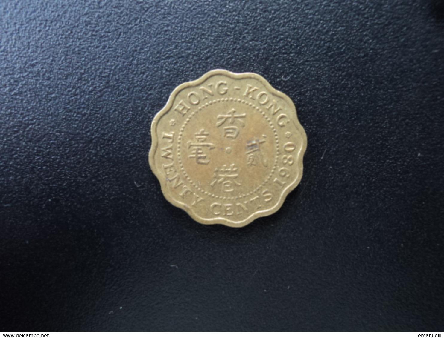 HONG KONG : 20 CENTS   1980    KM 36     SUP - Hong Kong