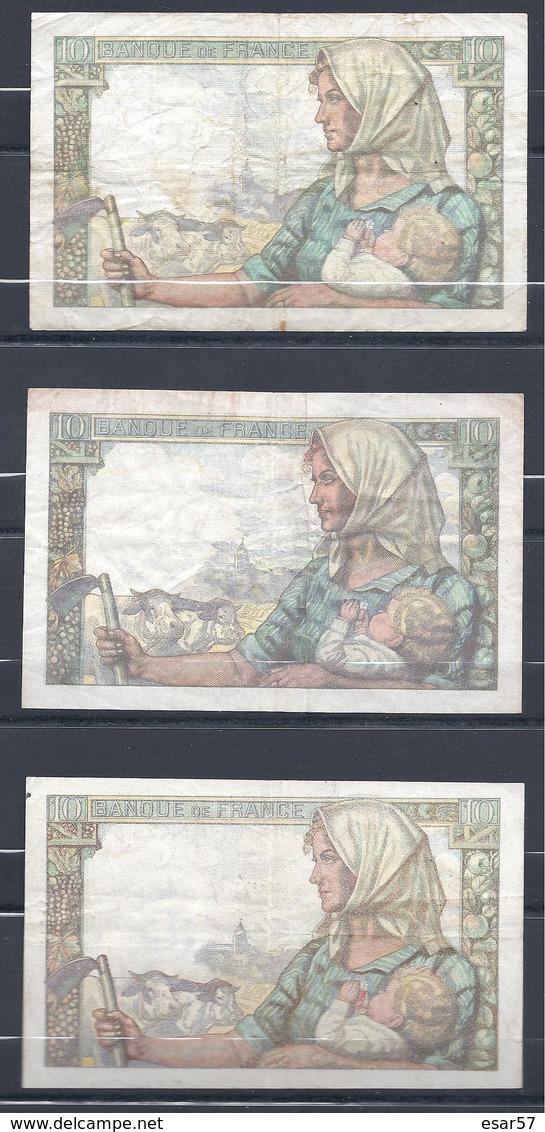 Lot De 3 Billets De 10 Fr Mineur 1942 - 1947 Et 1949 - 1871-1952 Circulated During XXth