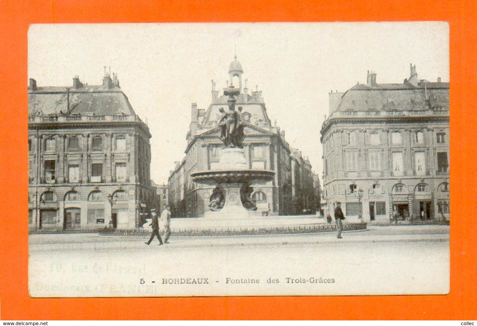 CPA FRANCE 33  ~  BORDEAUX  ~  5  Fontaine Des Trois-Grâces  ( Animée )  2 Scans - Bordeaux