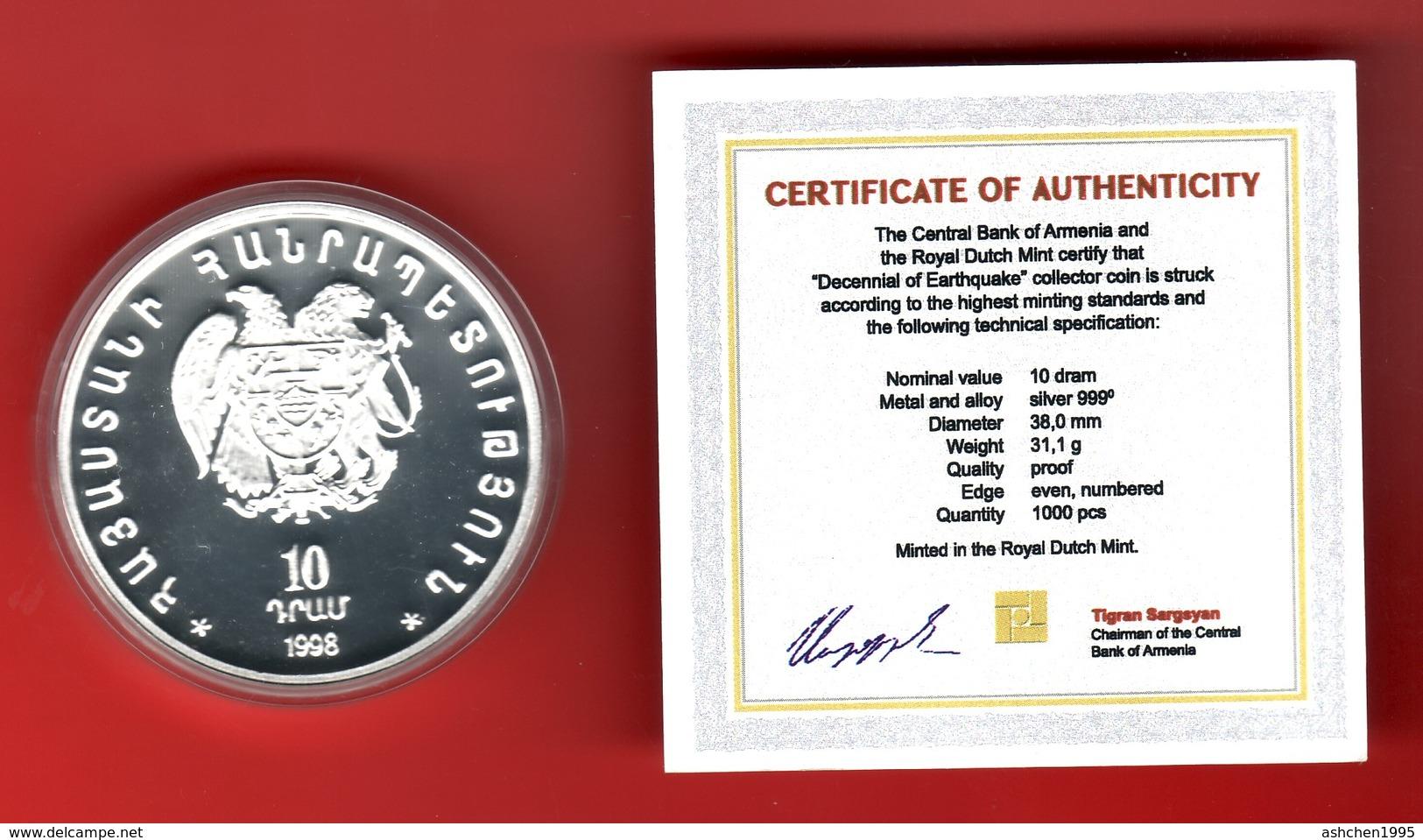 Armenien / Armenie / Armenia 1998, 10th Anniversary Earthquake 07.12.1988, Silver Coin, 10 Dram - Proof - Armenia