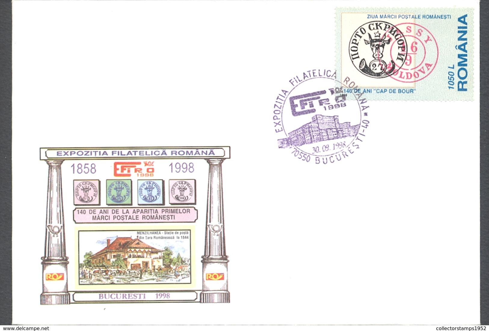 75837- BUCHAREST- EFIRO PHILATELIC EXHIBITION, ROMANIAN STAMP'S DAY, SPECIAL COVER, 1998, ROMANIA - 1948-.... Républiques