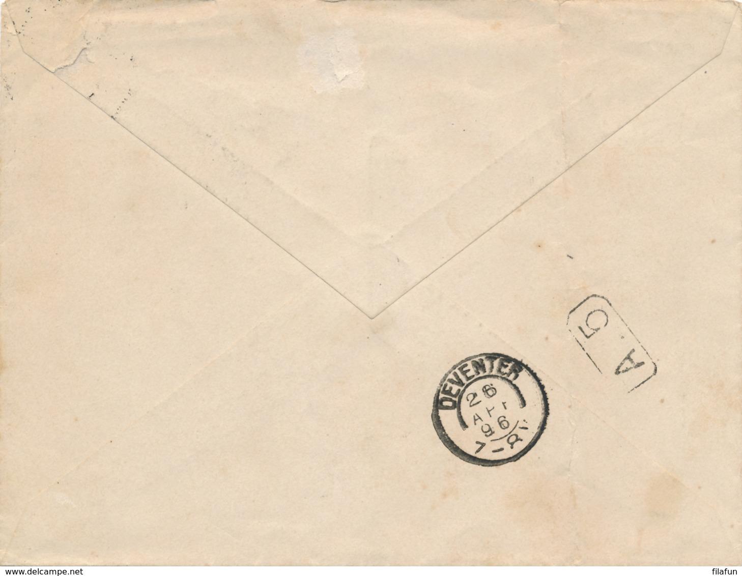 Nederland - 1896 - 5 Cent Hangend Haar, Envelop G6a Van KR Zaltbommel Naar Deventer - Periode 1891-1948 (Wilhelmina)