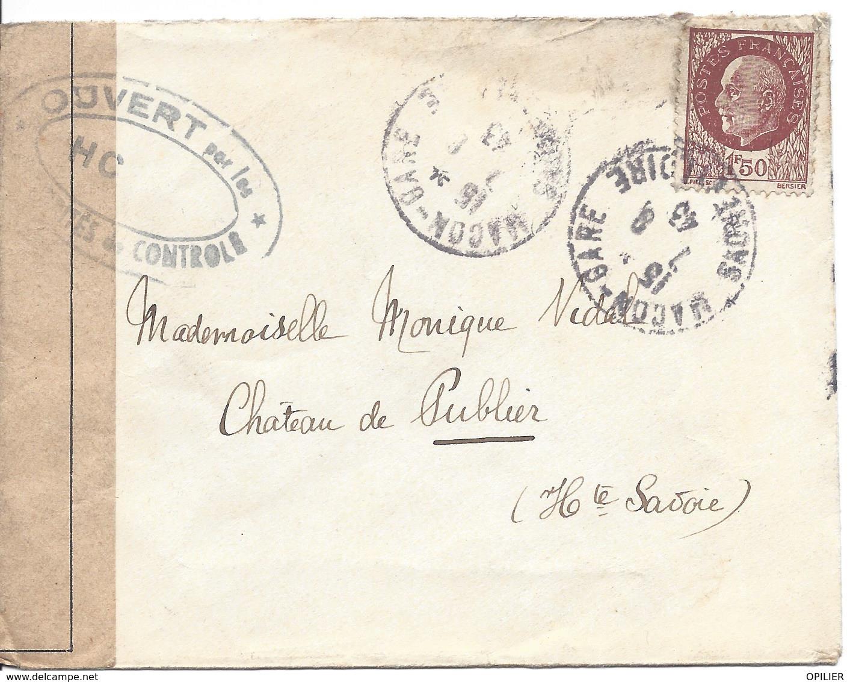 MACON GARE SAONE ET LOIRE 7 8 1943 Pétain 1.50F Censure OUVERT Par Les AUTORITES De CONTROLE HC - Marcophilie (Lettres)